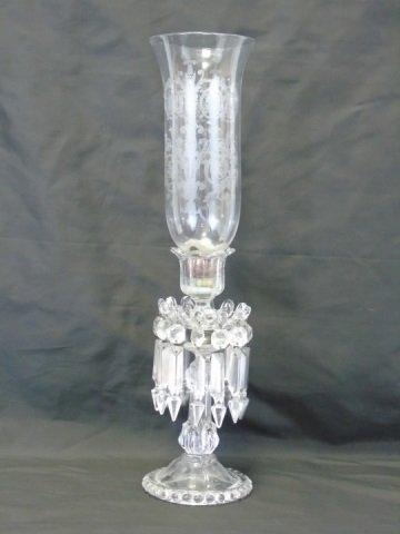Pair Antique Crystal Prism Hurricane Candle Sticks - 2