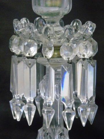 Pair Antique Crystal Prism Hurricane Candle Sticks - 5
