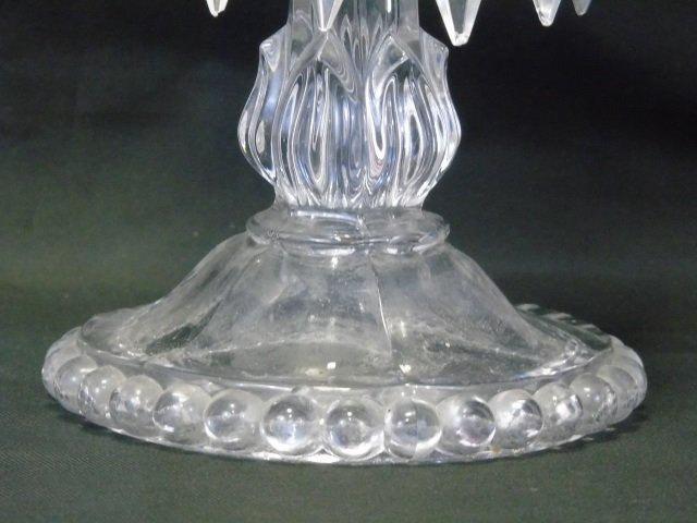 Pair Antique Crystal Prism Hurricane Candle Sticks - 6