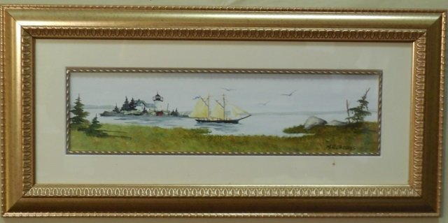 M. H. Jacobs Watercolor Shore Scene