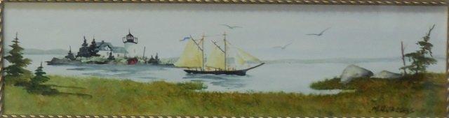 M. H. Jacobs Watercolor Shore Scene - 2