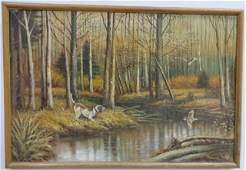 Brown  Marsh Scene w Hunting Dog Oil on Canvas