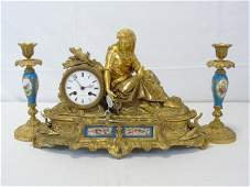 Antique 19th C French Gilt Bronze Clock  Candlesticks