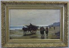 1883 Robert Farren Oil / Canvas Figures on a Beach