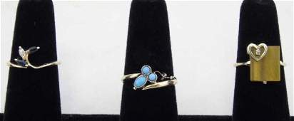 3 Rings 14K Gold  Gems