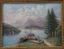 Signed Bellina Oil on Canvas Painting