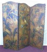 Antique Painted Leather 3 Panel Screen