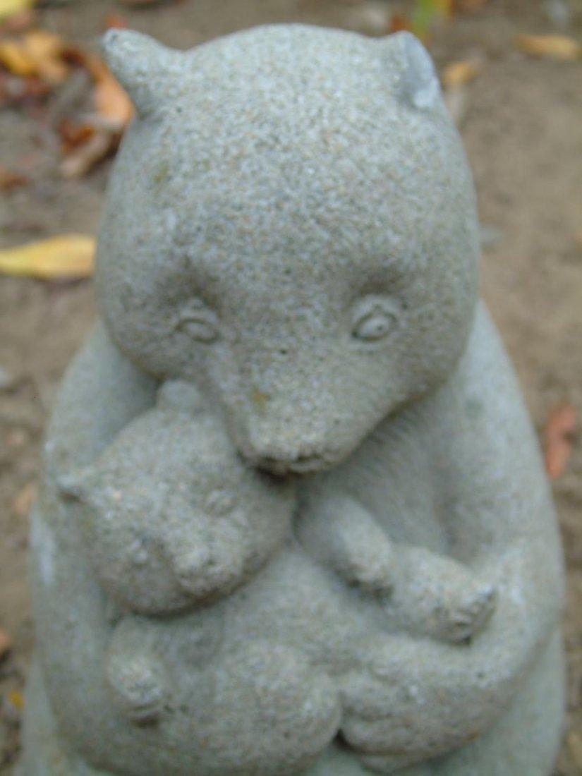 2 Concrete Garden Statues Bear & Turtle Planter - 2