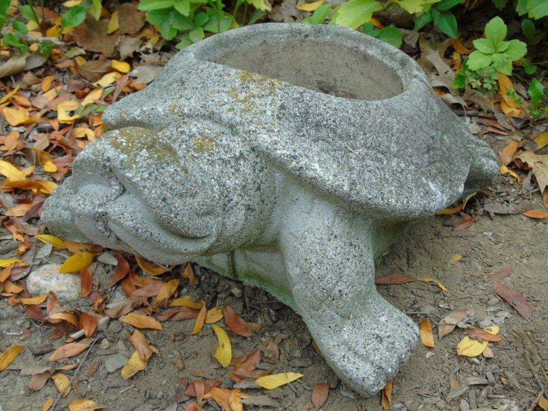 2 Concrete Garden Statues Bear & Turtle Planter - 4
