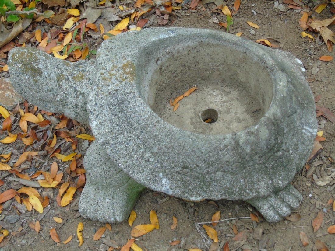 2 Concrete Garden Statues Bear & Turtle Planter - 5