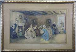 """1895 Chromo Litho """"Colonial Minuet"""" Unsigned"""