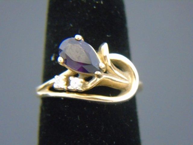 Vintage 14kt Yellow Gold Diamond & Amethyst Ring
