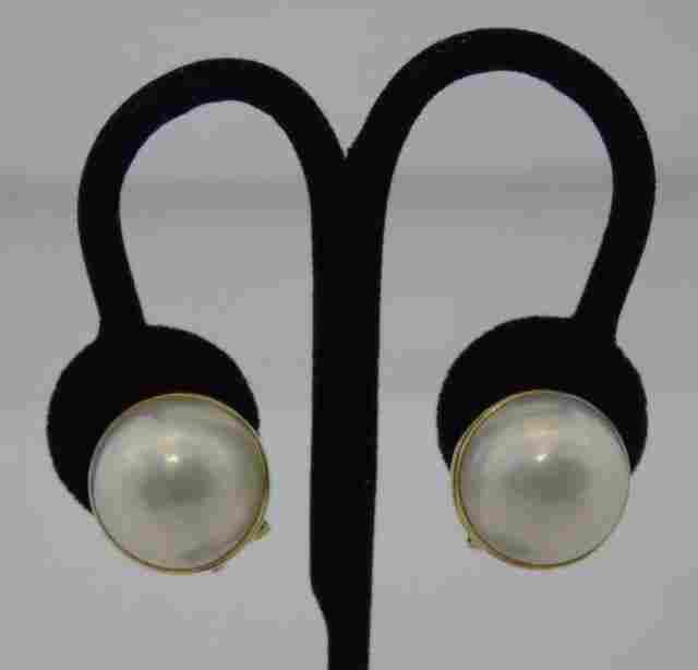 Vintage Estate Large 14k Gold Mabe Pearl Earrings