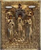 Antique Russian Icon in Gilt Silver Oklad 5 Saints