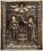 Russian Silver Oklad Icon w Nevsky  Elizaveta