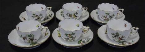 Herend of Hungary  Rothschild Bird Cups  Saucers