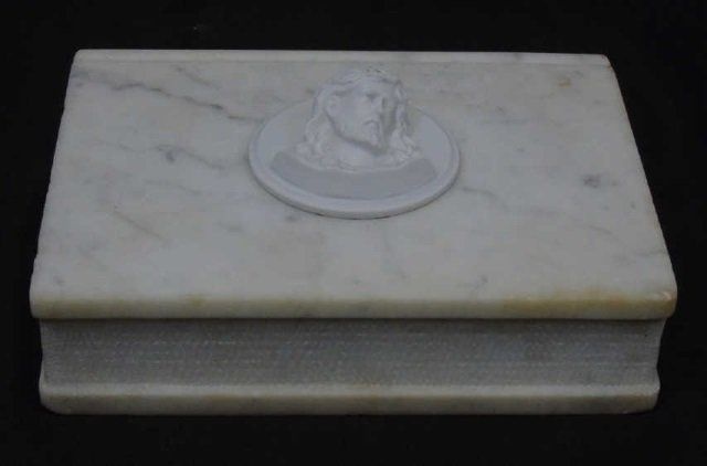 Carved Marble Bible w/ Composite Medallion Jesus