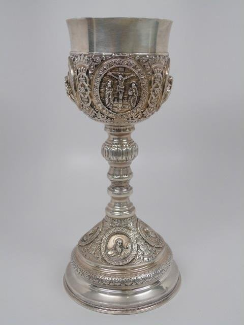 Large Antique Russian Sterling Silver Chalice