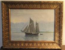 Antique Marine Painting of a Sailing Yacht Signed