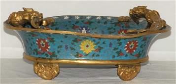 Antique Chinese Cloisonne Bowl Bronze Handles