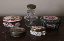 Four Antique Continental Porcelain Enamel Boxes