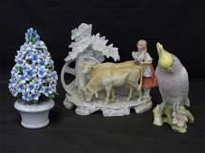 3 Vintage Bisque & Porcelain Table Statues