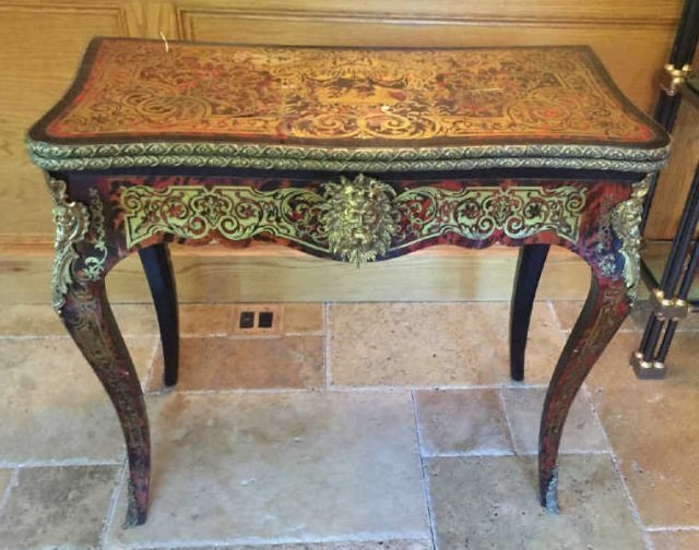 Antique 19th C French Boulle Style Card Table