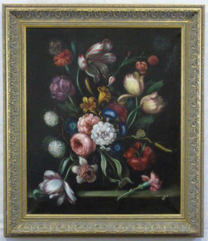 Floral Still Life Oil on Canvas Dutch Master Style