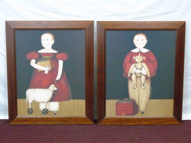 Mary Beth Baxter -Pair of Folk Art Portrait Prints