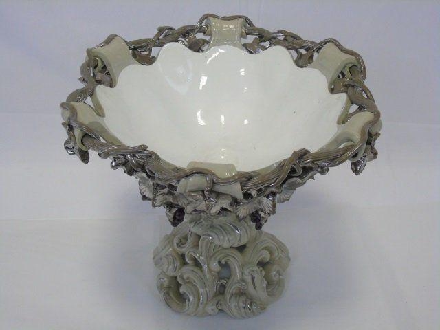 Antique Continental Majolica Center Piece Bowl
