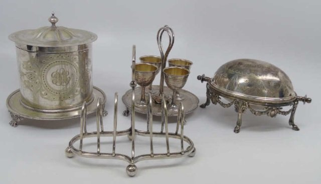 Lot 4 Antique English Silver Plate Serving Pieces