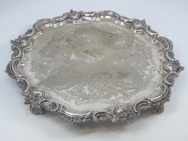 19th C English Silver Plate Tray Fairfax & Roberts