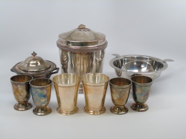Lot of 9 Silver Plate Items Ice Bucket Julep Cups