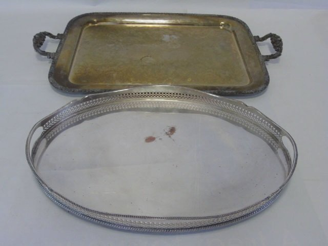 2 Early 20th Century Silver Plate Trays