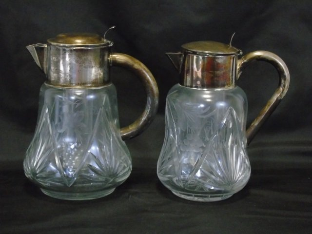 2 Antique German Cut Glass Silver Pitcher Ice Tube