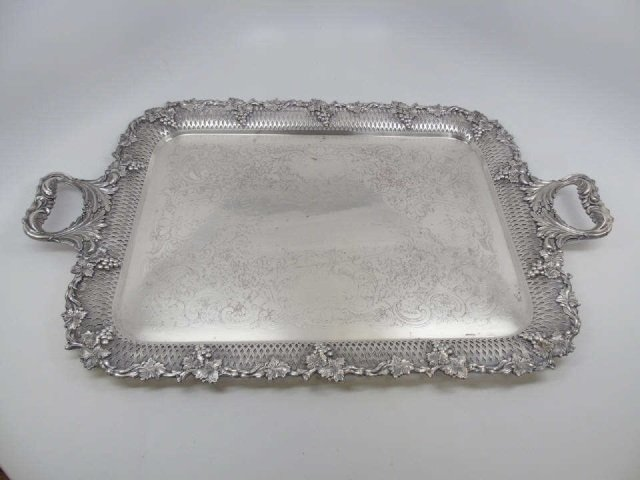 Antique English Sheffield Style Silver Plate Tray