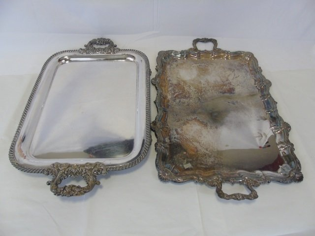 2 Antique English Sheffield Silver Plate Trays