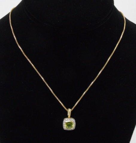 18kt Gold Peridot & Diamond Necklace Pendant