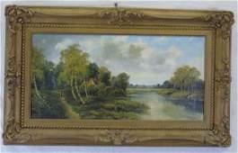 H Payne  Landscape Oil on Canvas Painting
