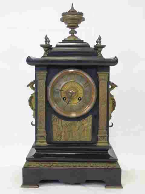 Antique 19th C. French Bronze Marble Mantle Clock