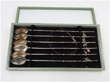 Set Chinese Sterling Silver Ice Tea Spoon Straws