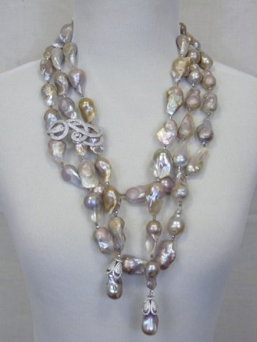 Natural Baroque Pearls & Silver Necklace Earrings
