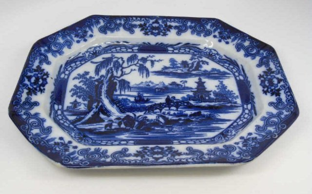 Antique English Ironstone Flow Blue Platter