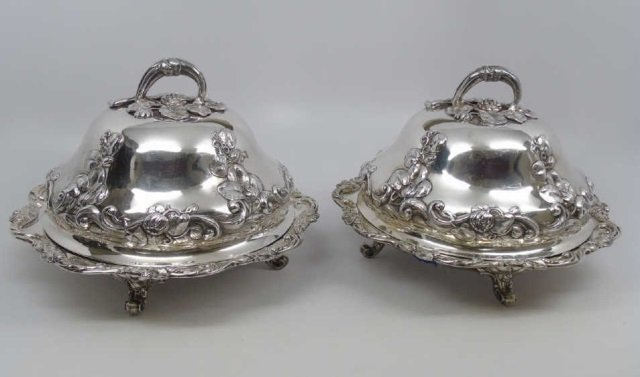 Pair Large Antique English Sterling Silver Tureens