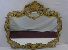 Large Rococo Style Antique Carved Gilt Wood Mirror