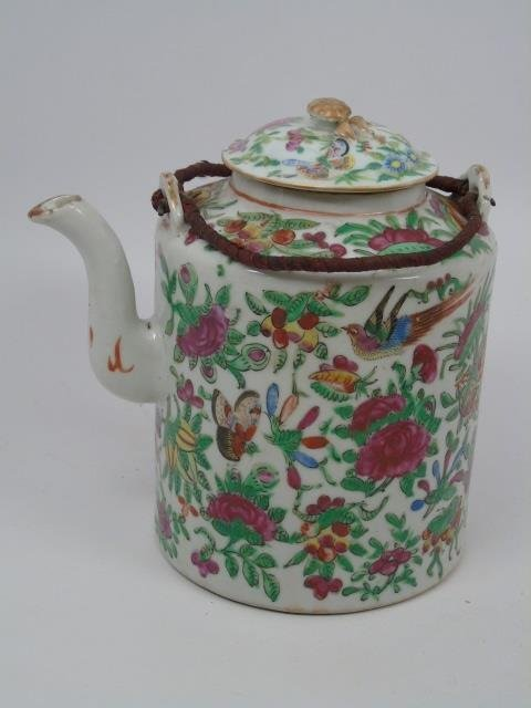Antique Chinese Rose Canton Teapot in Basket
