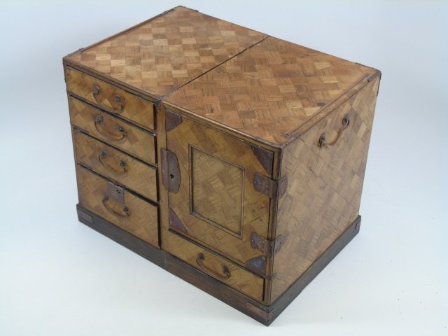 Antique Marquetry Wood Chinese Jewelry Box