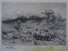 Peter Moran  19th C Landscape w Sheep