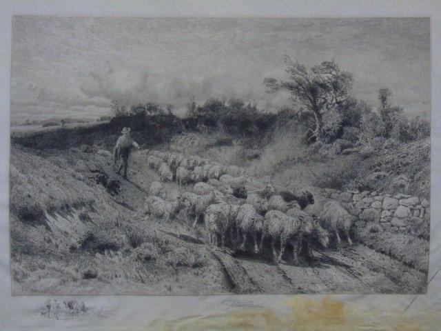 Peter Moran - 19th C Landscape w/ Sheep
