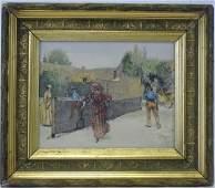 Edwin Abbey- Painted Tile Art 1887 Tennis Match